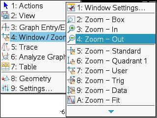 ti nspire zoom window drop down menu