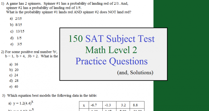 150 sat subject test practice questions