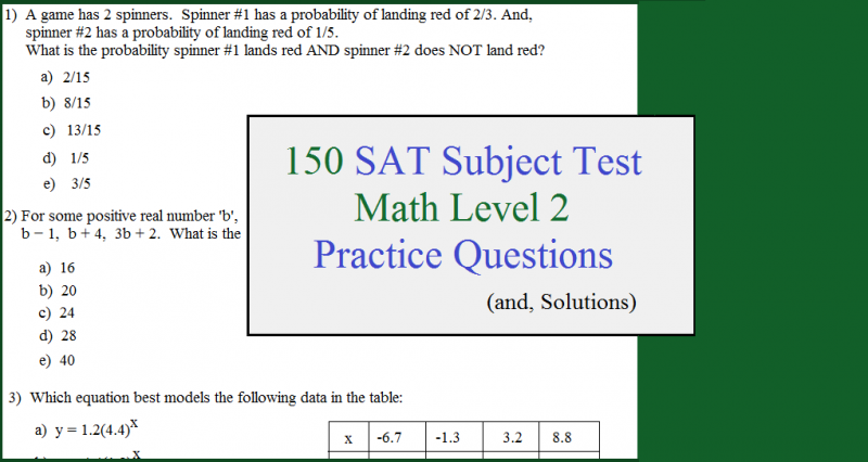 150 sat subject test practice math