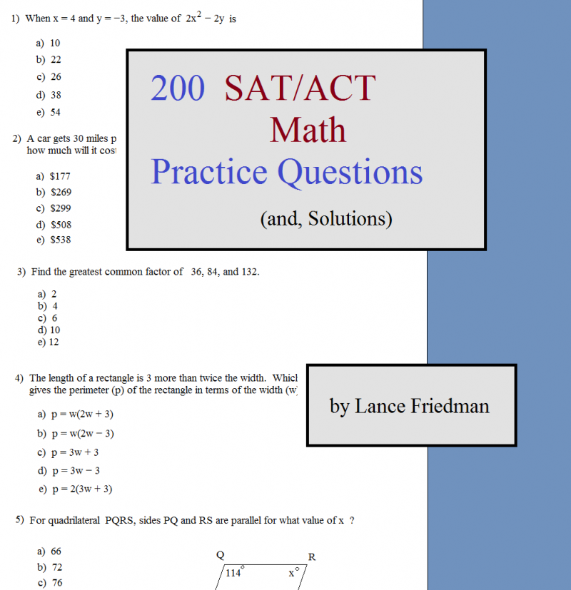 200 sat act math questions cover
