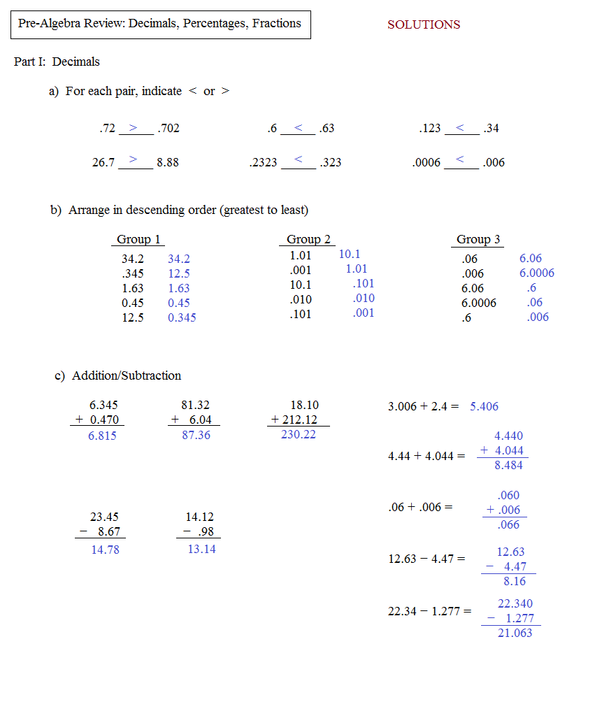 Pre Algebra Review Worksheets multiplication and division with – Pre Algebra Review Worksheets