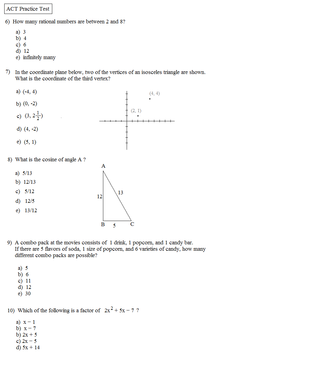 Printables Act Math Worksheets act math practice test pdf kangaroo sample questions level 2