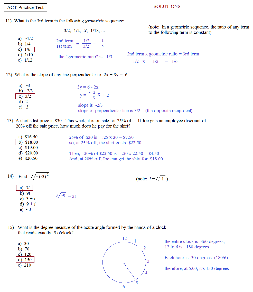 Math Plane - ACT Practice Test 1