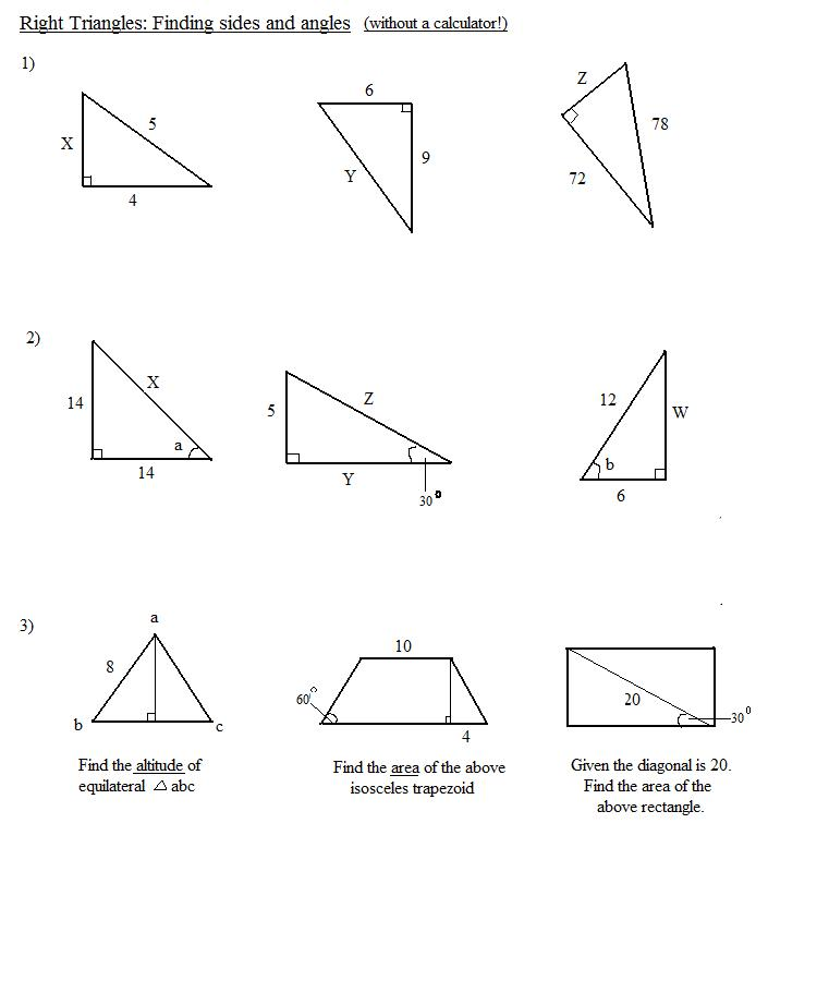 Right Angle Triangle Finding Angles of a Right