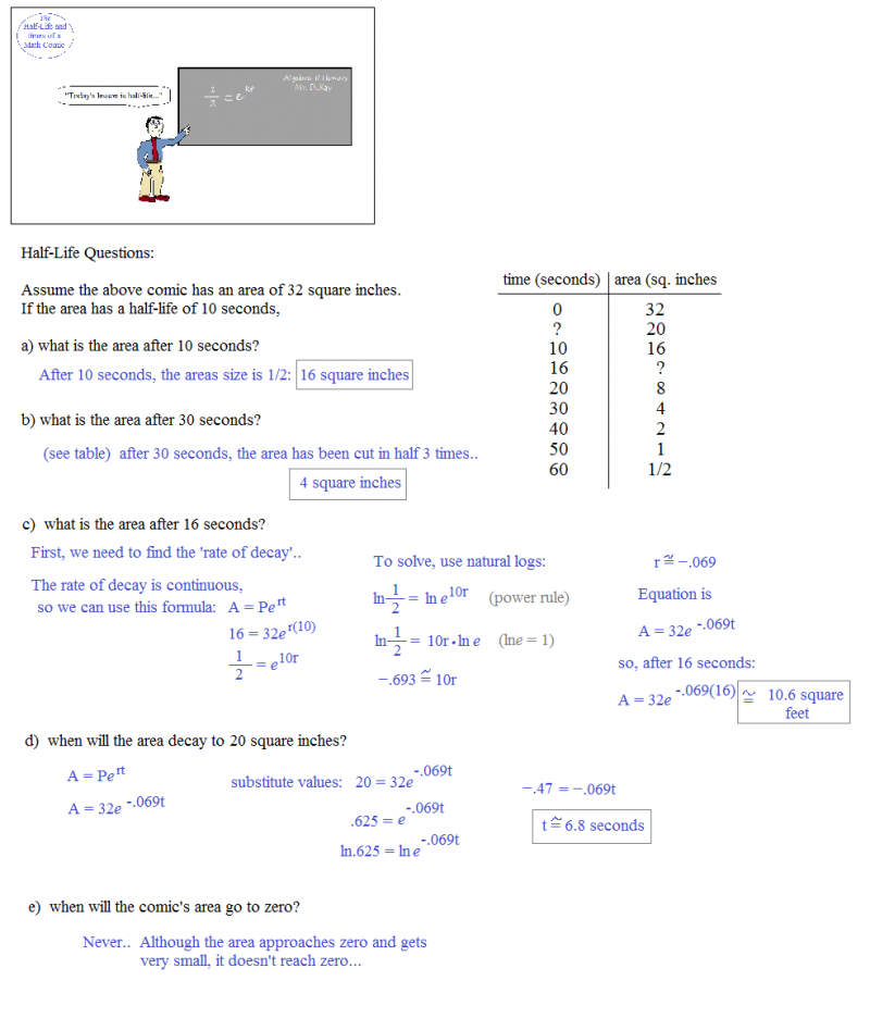 Half life calculations worksheet answers pg 100
