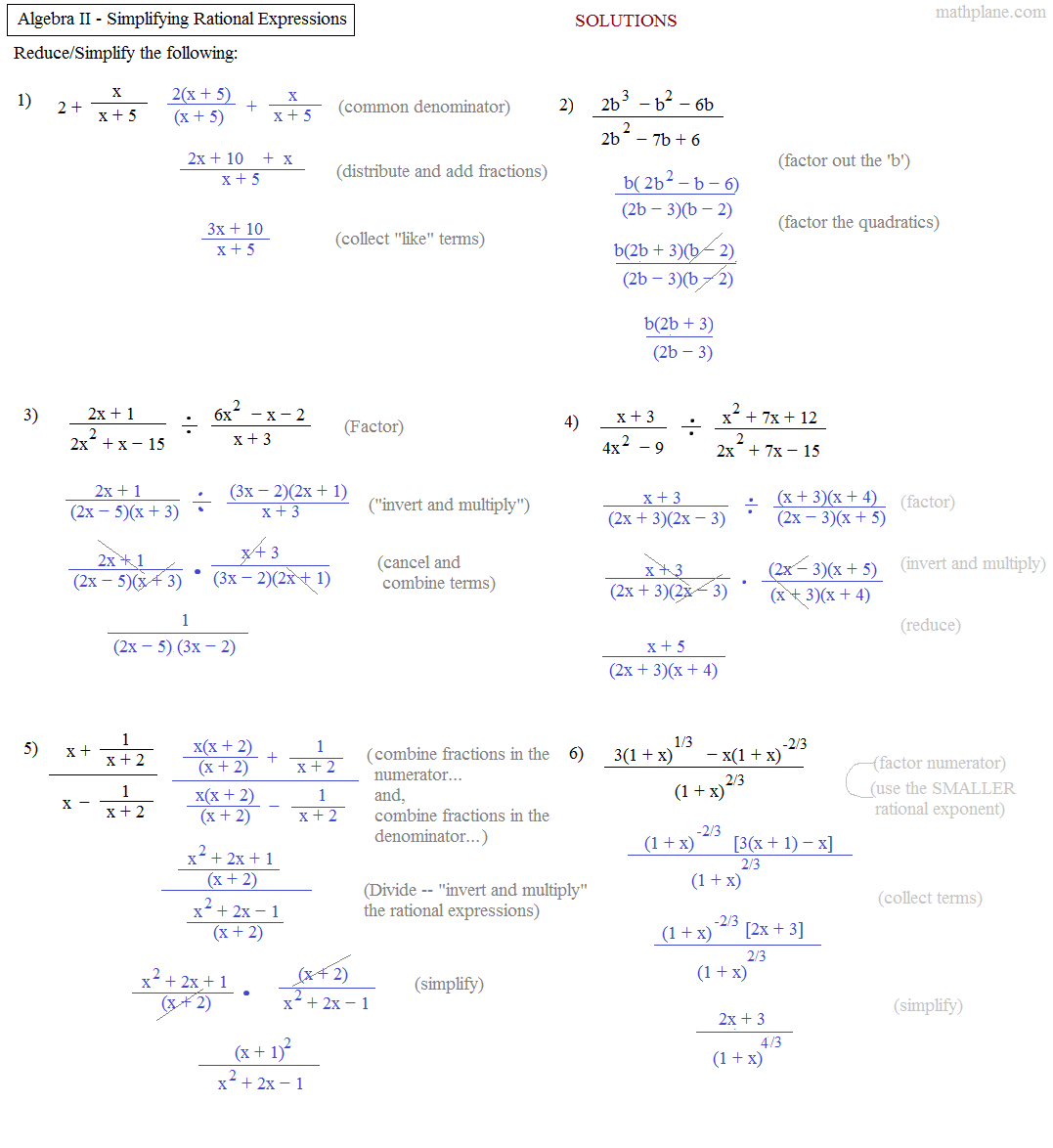 Free Printable Intermediate Algebra Worksheets - Also Available Online