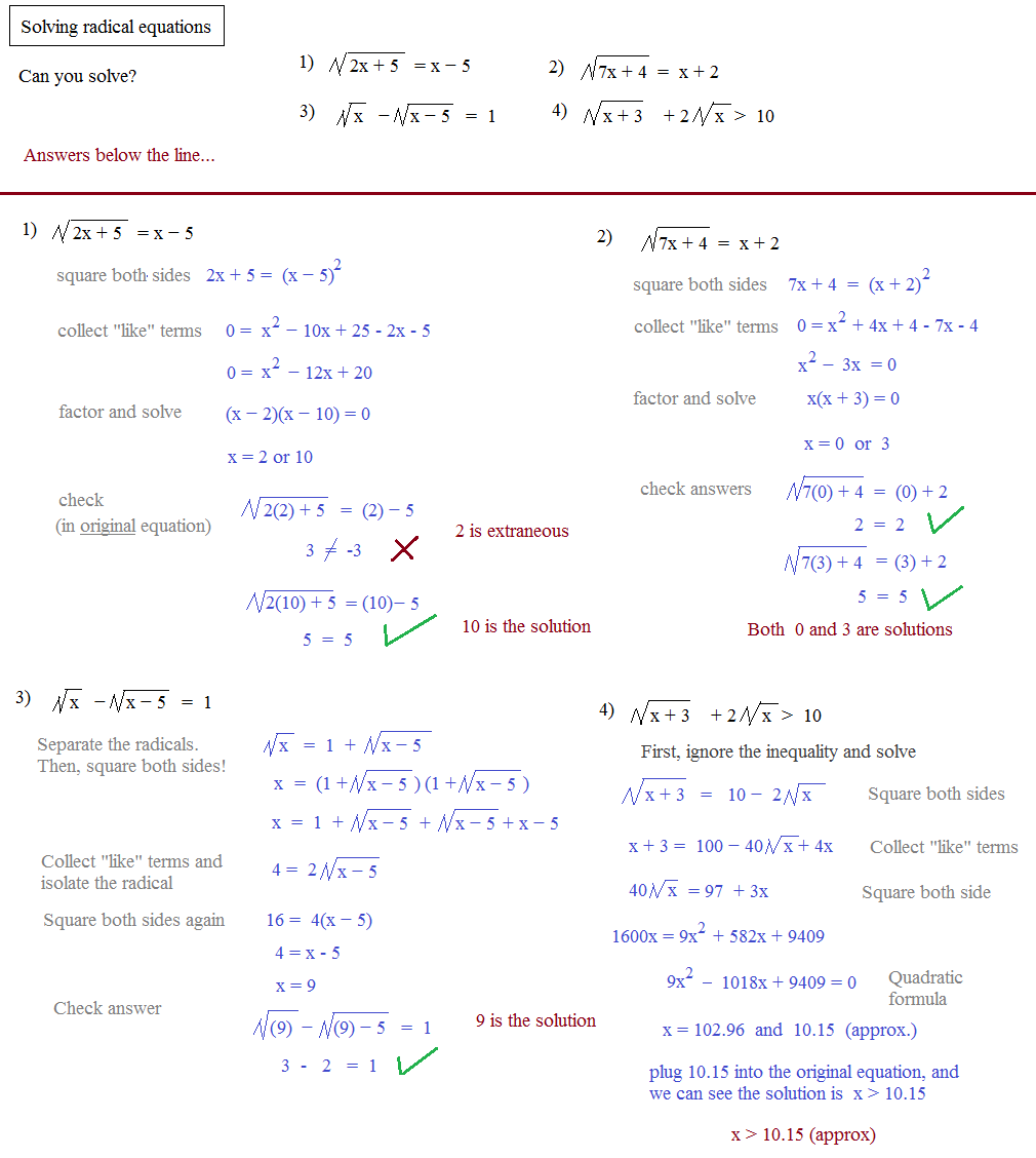 Printables Solving Radical Equations Worksheet solving radical equations problems and answers buy essay mathplane com