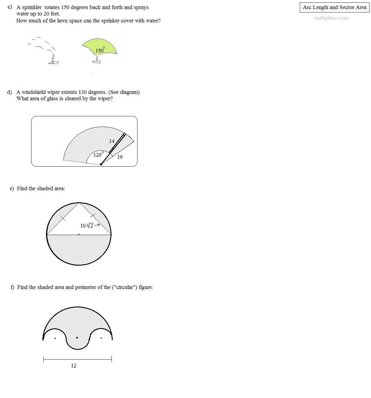 Area of sector worksheet answers