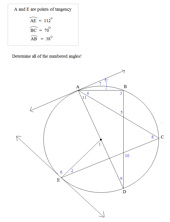 arcs and inscribed angles exercise