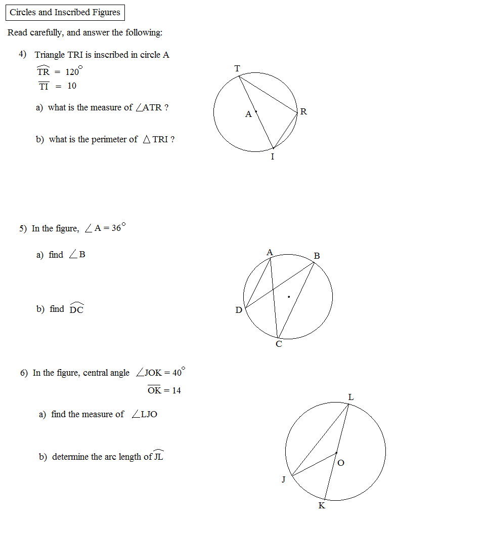 Math Plane - Circles and Inscribed Figures