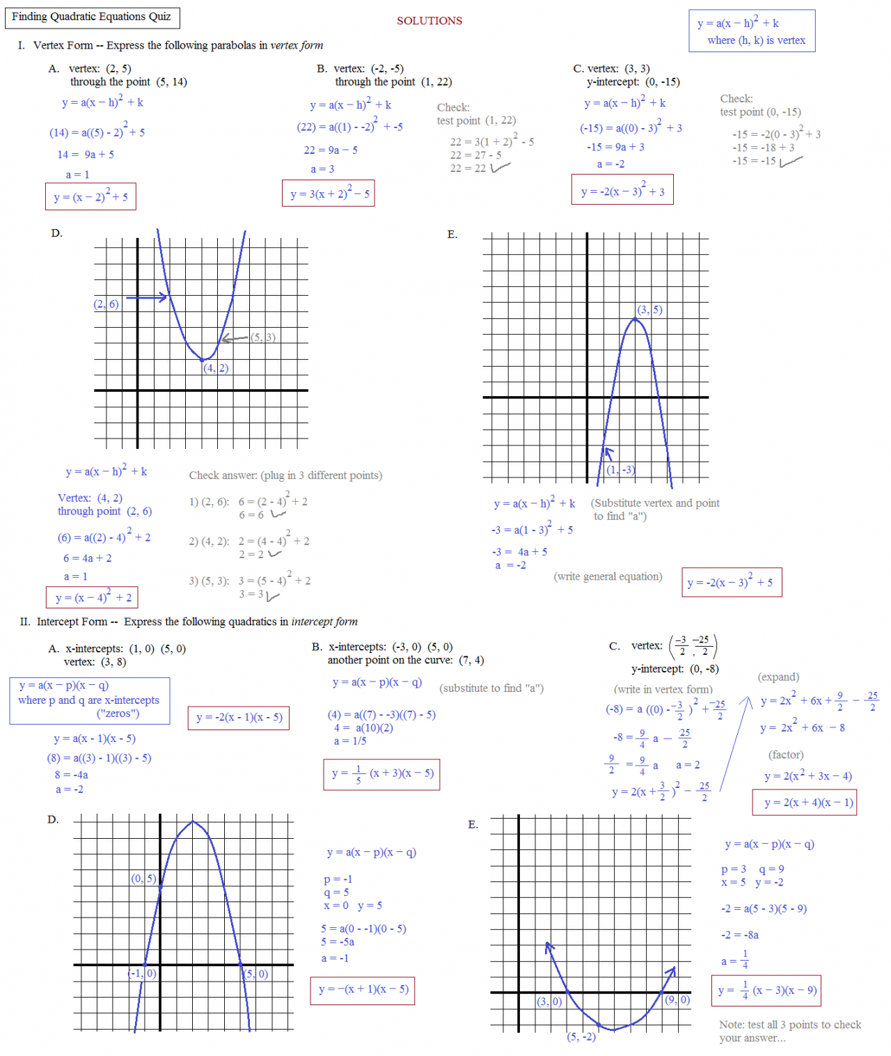 worksheet. Graphing Quadratic Functions In Standard Form ...