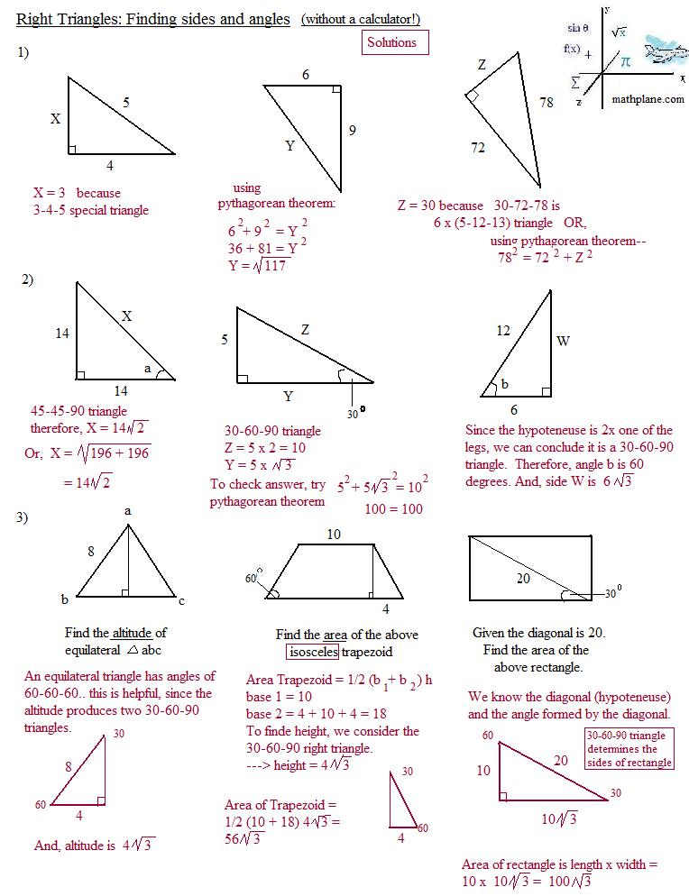 Worksheets 45 45 90 Triangle Worksheet special right triangle worksheet davezan worksheets davezan