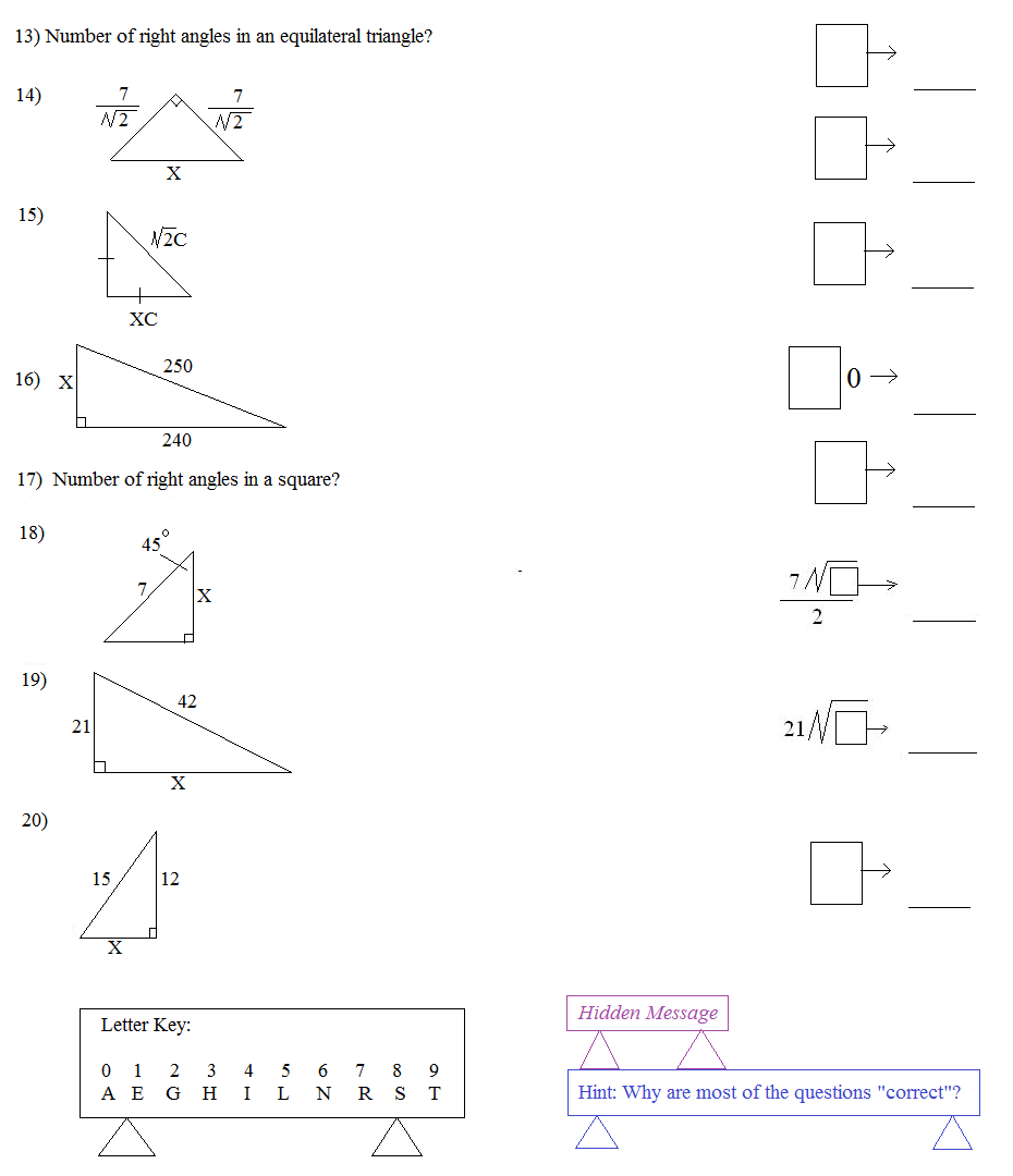 Trigonometry Special Right Triangles Worksheet Special Right Triangles