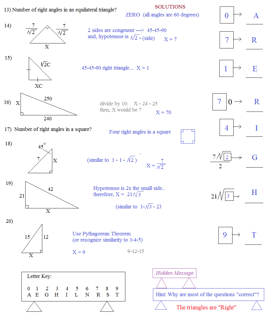puzzle math special right triangles worksheet answers 1000 ideas about special right triangle. Black Bedroom Furniture Sets. Home Design Ideas