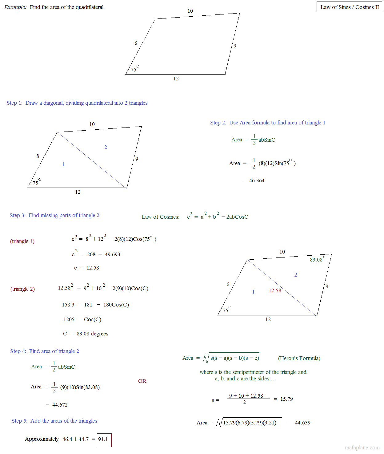 Math Plane - Law of Sines and Cosines II