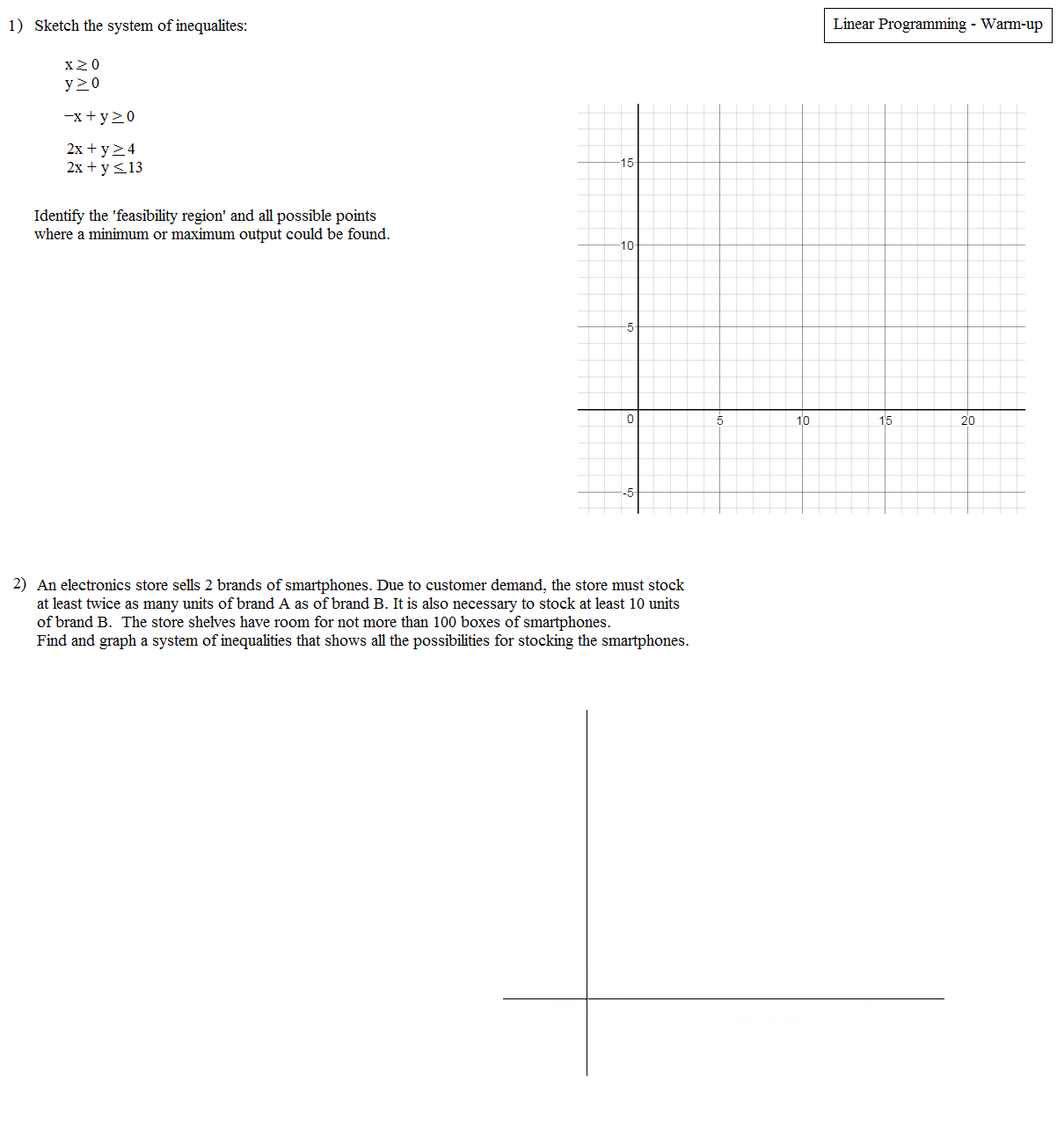 worksheet Linear Programming Worksheet linear programming worksheet abitlikethis warm up 1