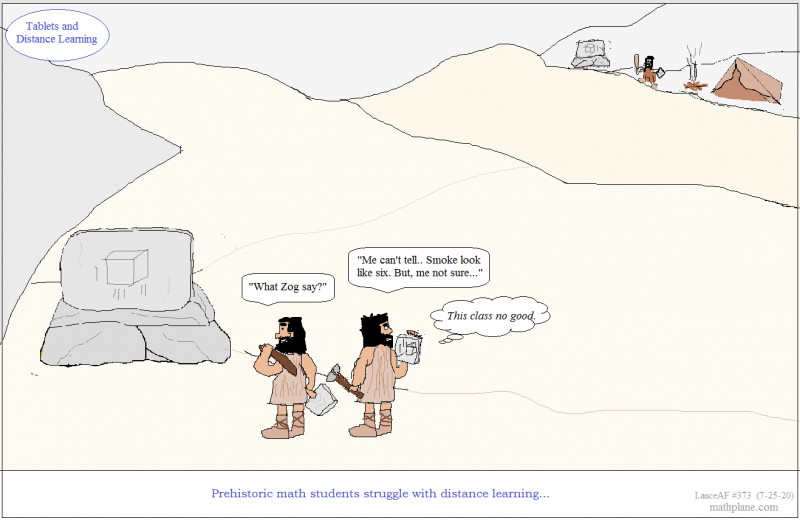 math comic 373 tablets and early distance learning