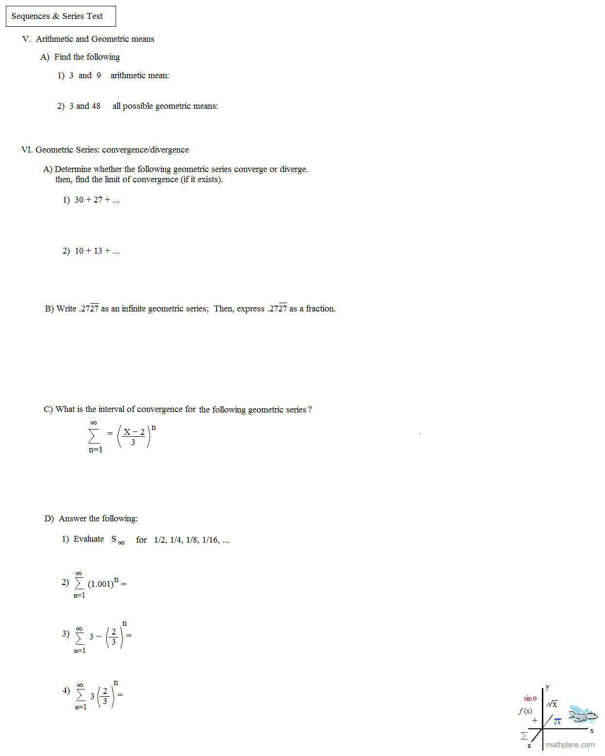 Arithmetic and geometric series worksheet kuta