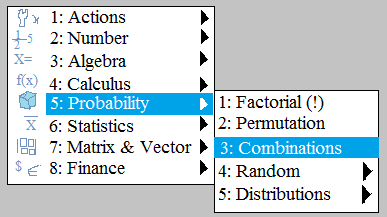 nspire cas menu list probability counting