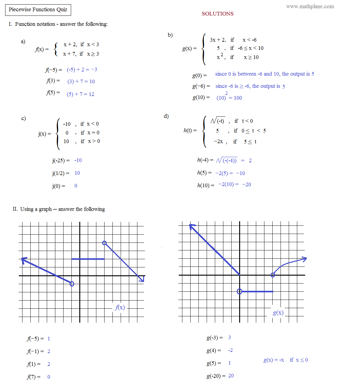 ... Functions Worksheet Math plane - piecewise functions & f(x) notation