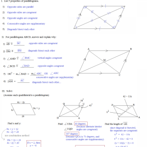 quadrilaterals parallelograms quiz answers