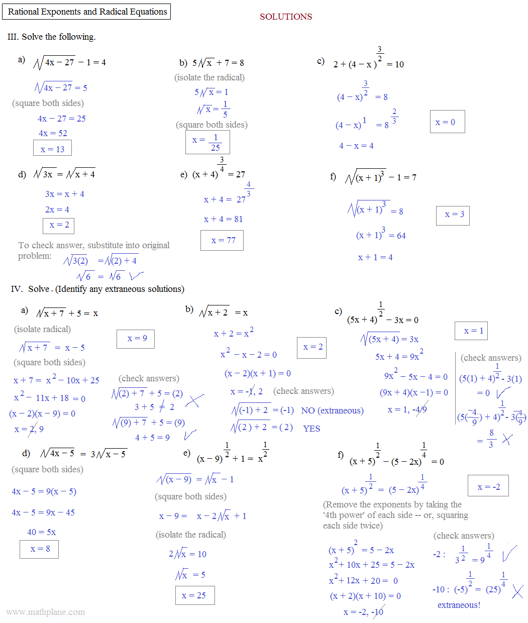 Kuta Software Infinite Algebra 2 Rational Exponent Equations – Algebra 2 Worksheets Answers