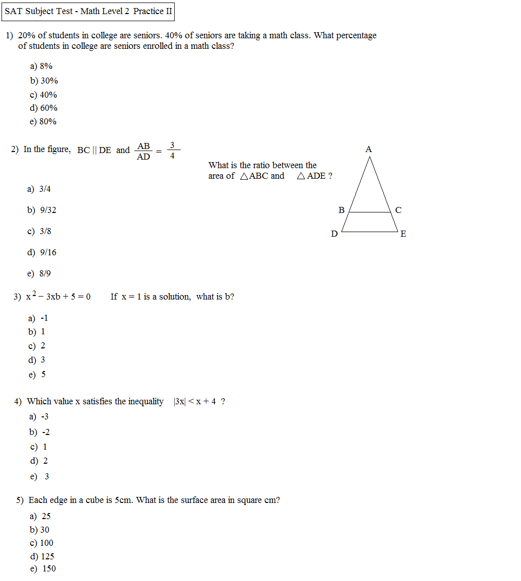 Printables Sat Math Prep Worksheets sat math 2 practice test pdf high school problems practice