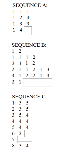 sequences of steps questions