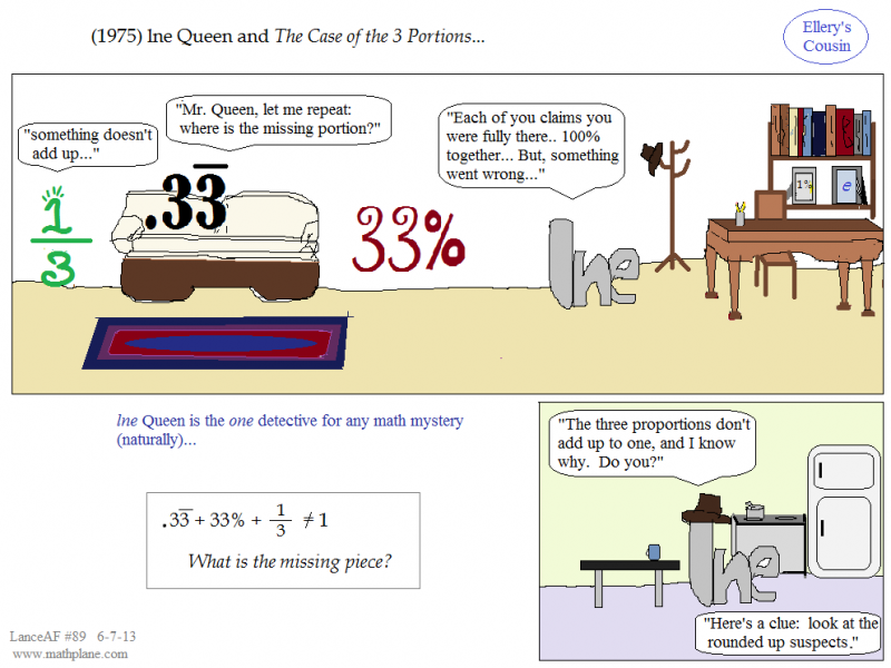 math comic 89 ellery cousin - lne queen and 3 portions