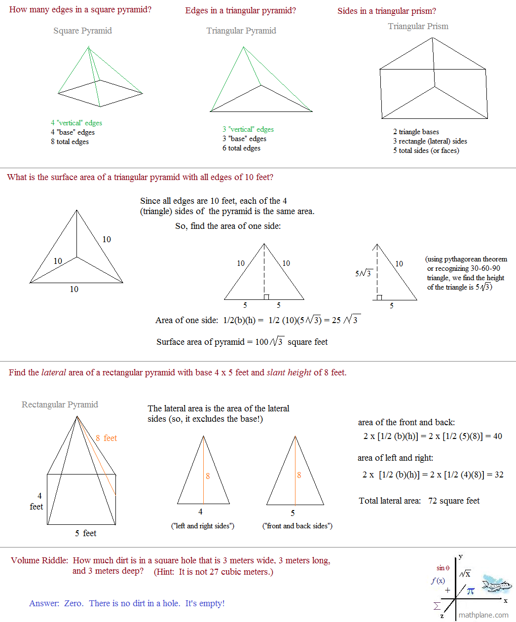 surface area questions and riddle solutions