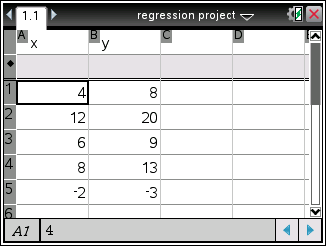 ti nspire spreadsheet project 1b