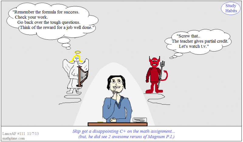 webcomic 111 study habits - angel devil
