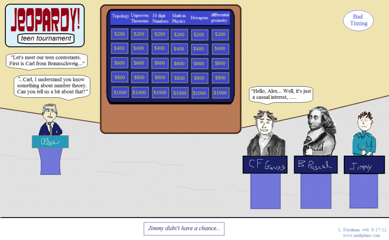 webcomic 46 math jeopardy with gauss and pascal